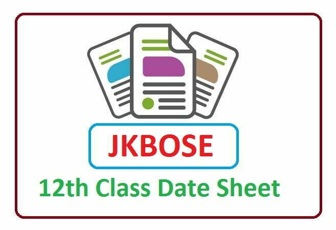 JKBOSE 12th Date Sheet 2020, JKBOSE 12th Routine 2020