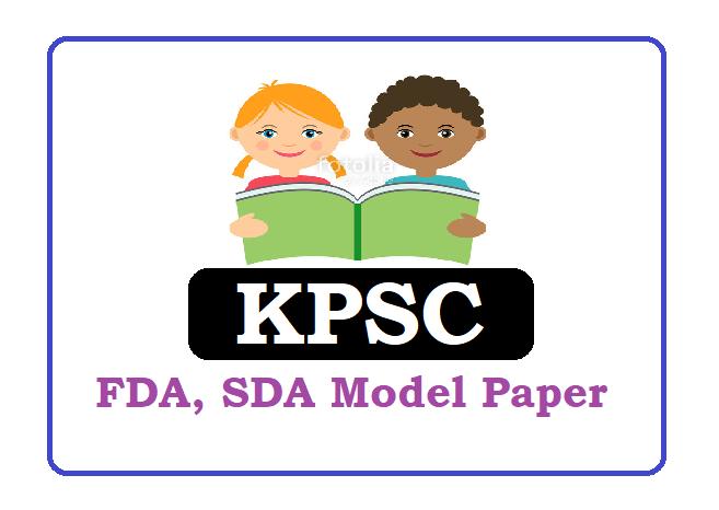 KPSC FDA, SDA Model Paper 2020
