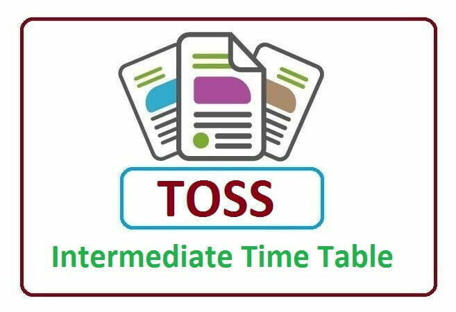 TOSS Inter 1st & 2nd Year Time Table 2020
